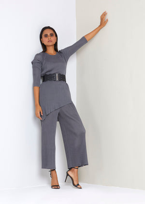 Assymetrical Co-ord set - Dark Grey