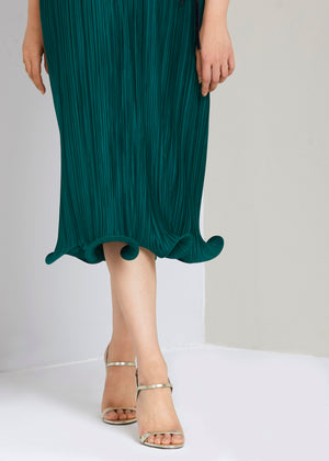 Signature Double Curl Midi Dress - Emerald