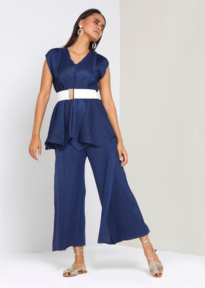 V Neck Co-ord Set - Navy