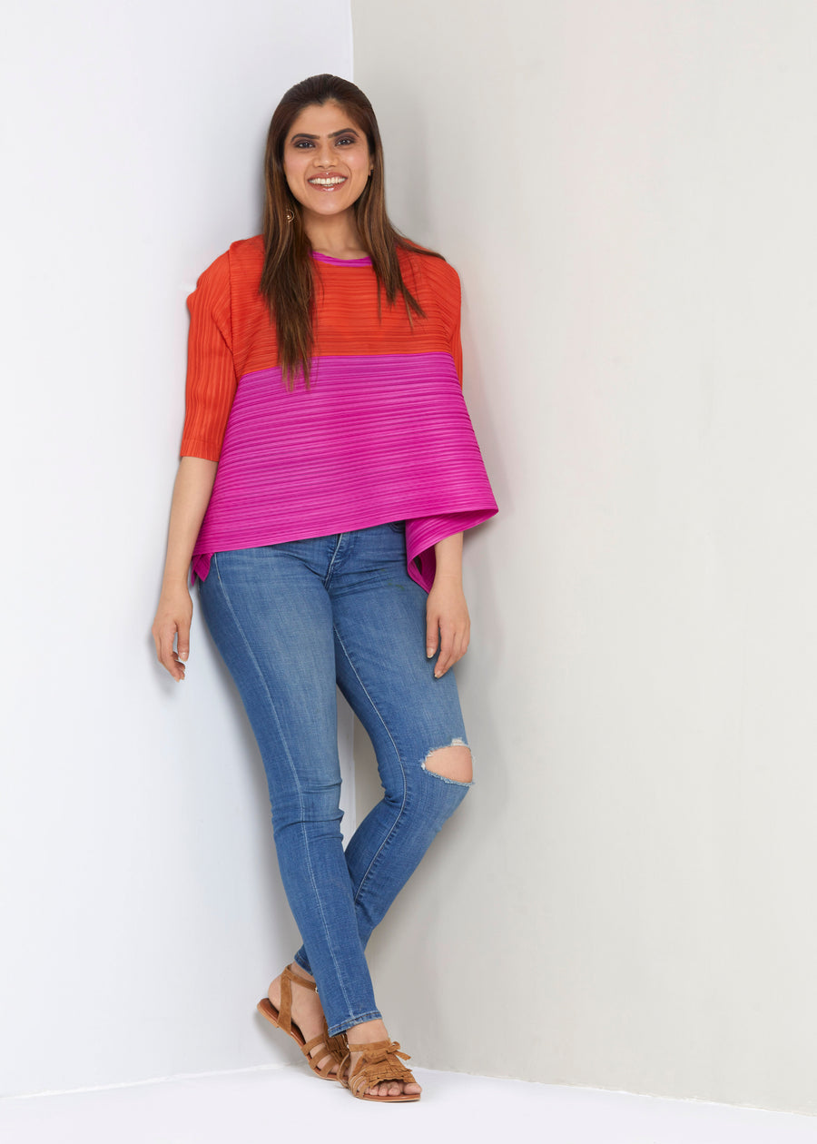 Dual Colour Assymterical Sleeved Top - Pink /Orange