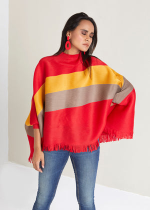 Fringed Poncho Top - Red