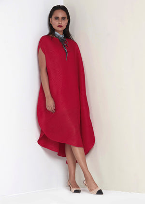 Cape Style Bias Drape Dress - Merlot