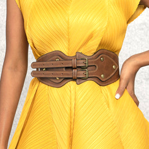 Vintage Double Buckle Belt - Brown