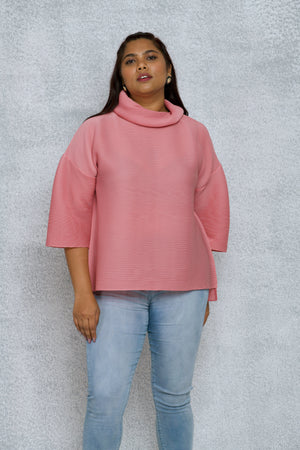 Turtleneck Box Sleeve Top - Pink