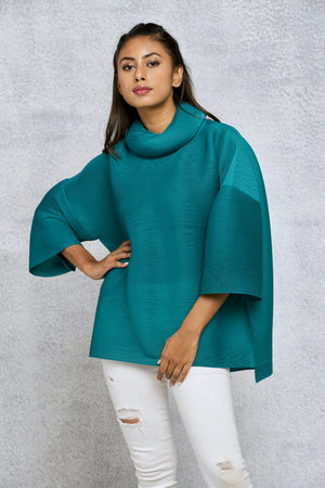 Turtleneck Box Sleeve Top - Bright Teal