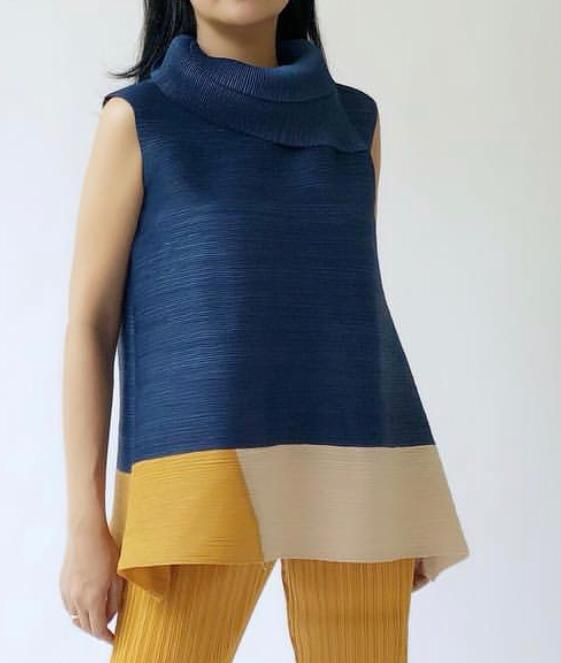Sleevless Turtleneck Colour Block - Navy with Yellow