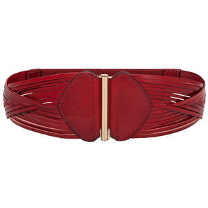 Strappy Laser Cut leather Belt - Plum Red
