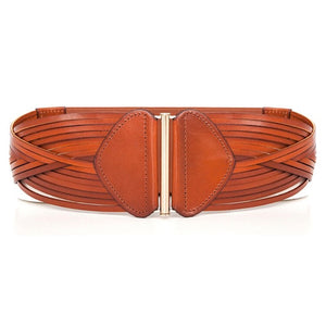Strappy Laser Cut leather Belt - Tan