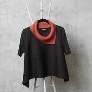 Dual Colour Turtleneck - Coral /Brown