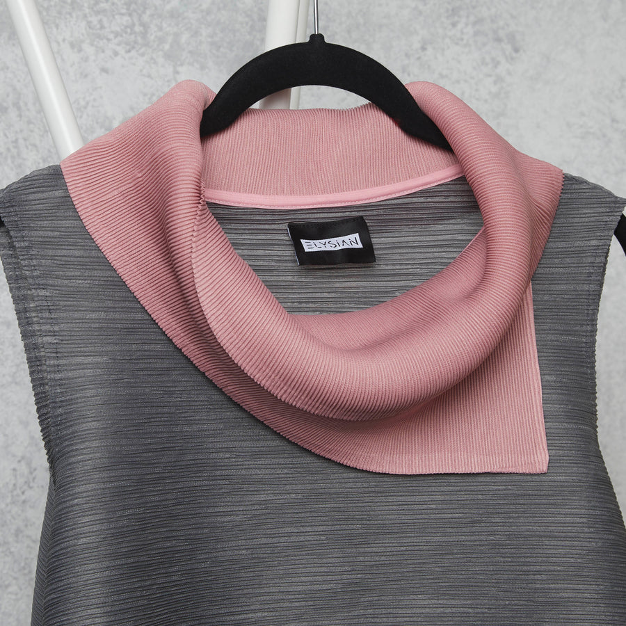 Dual Colour Sleeveless Turtleneck - Grey/Pink