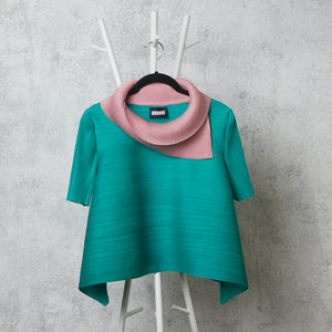 Dual Colour Turtleneck - Pink/Aqua