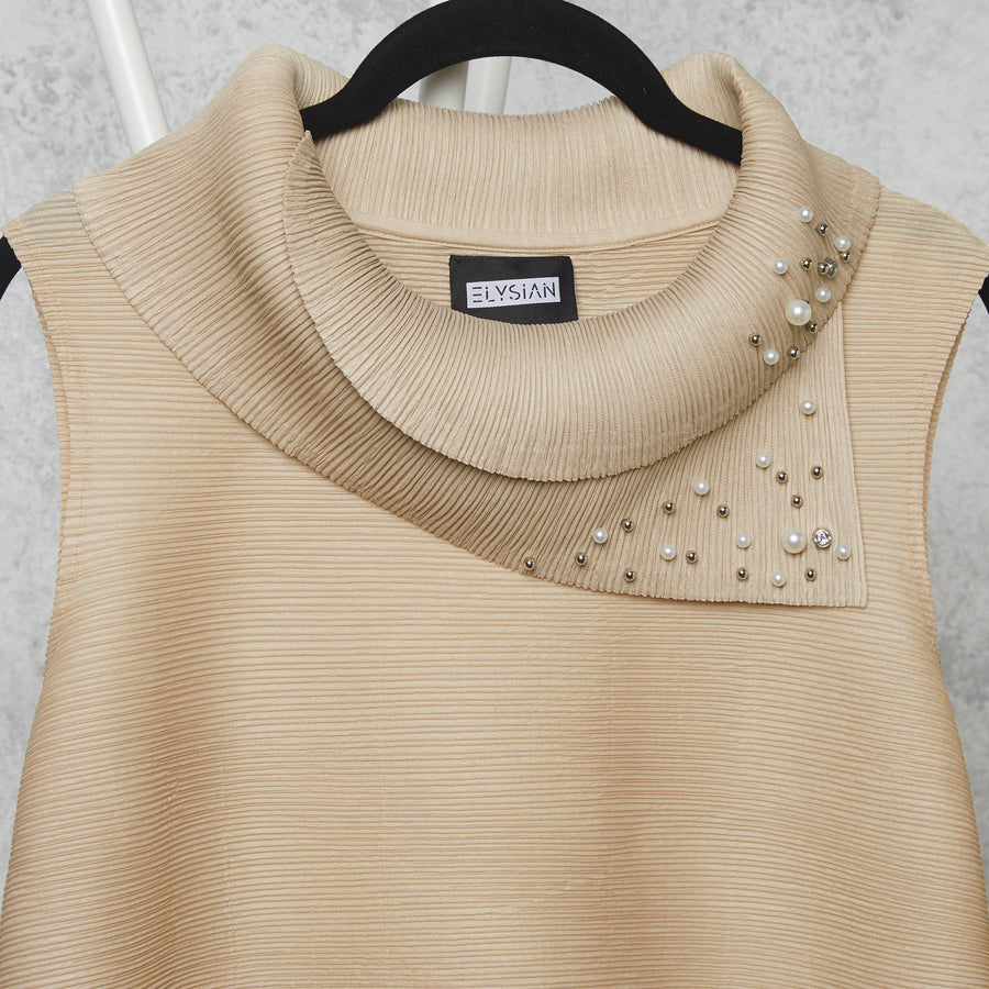 Pearled  Sleeveless Turtle Neck - Cream
