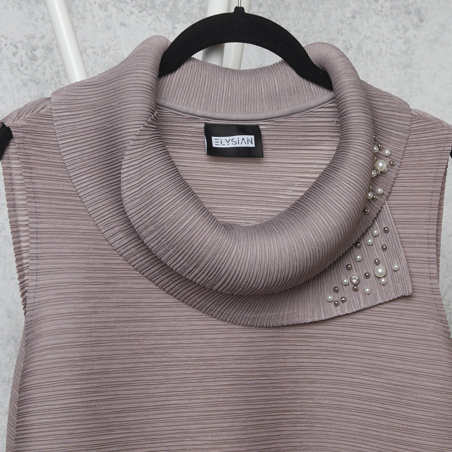 Pearled Sleeveless Turtle Neck - Grey