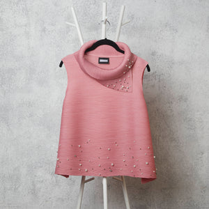 Pearled Sleeveless Turtle Neck - Pink