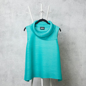 Pleated Sleeveless Turtlenecks - Aqua Blue
