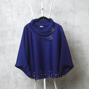 Batwing Pearled Turtle Neck Top - Royal Blue