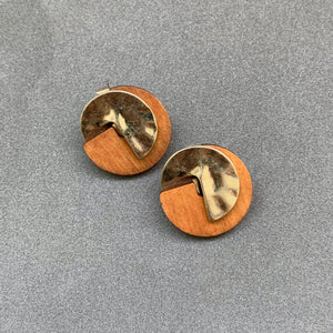 Wood & Metal Small Studs - Gold