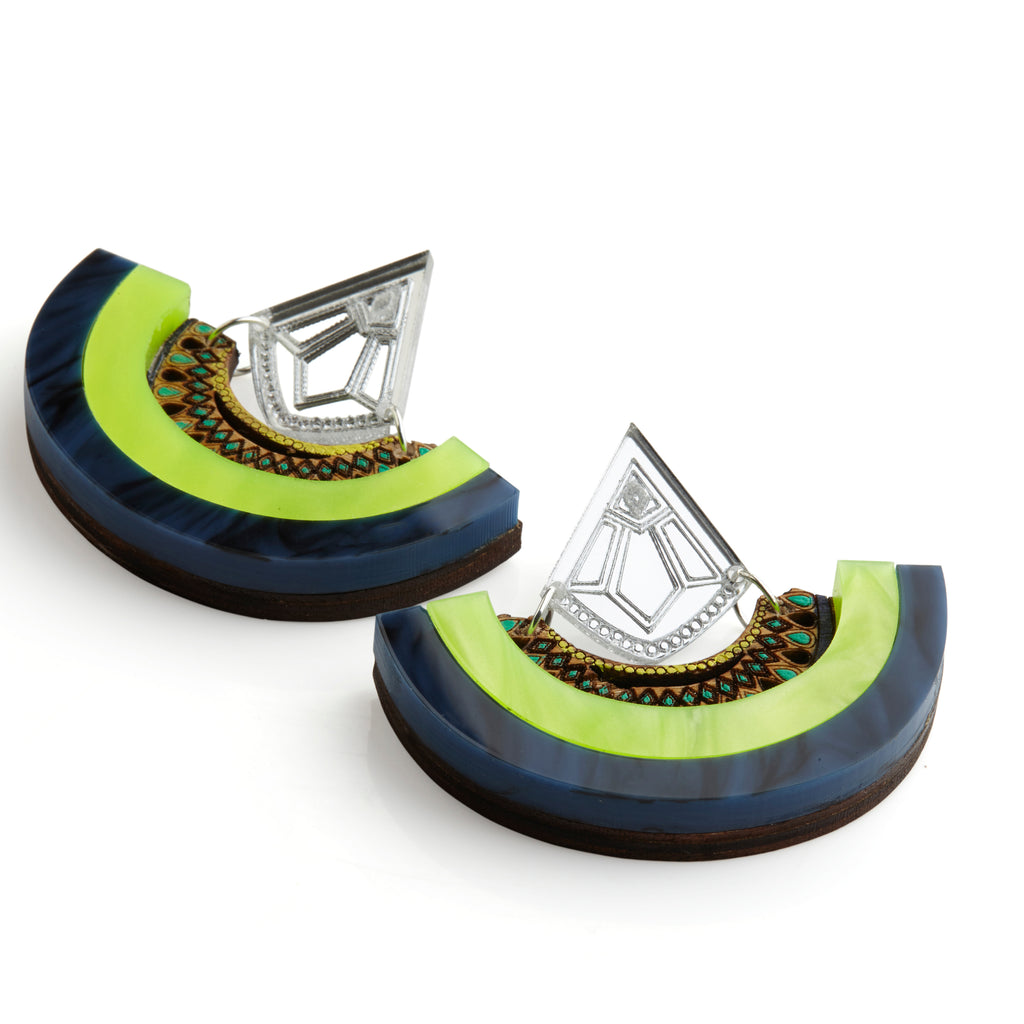 Y Drop Earrings - Lime Green