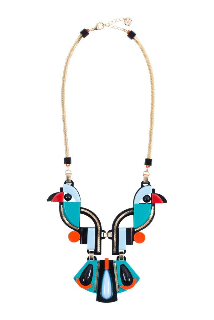 The Tropical Bird Necklace - Turquoise