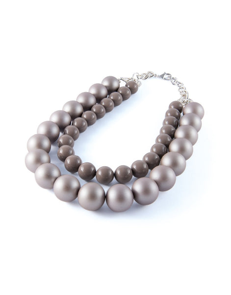 Double Line Grey Pearlised Collana