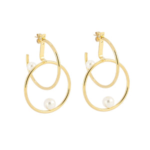 Circle Art Pearl Earrings III