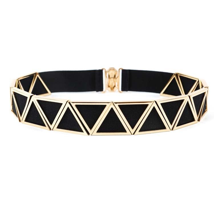 Elastic Belt with Metal Chevron overlay - 3cm