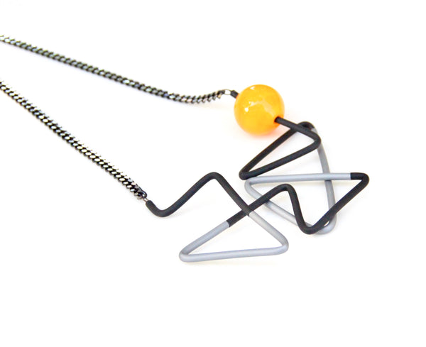 Triano Long Necklace - Grey Black Yellow