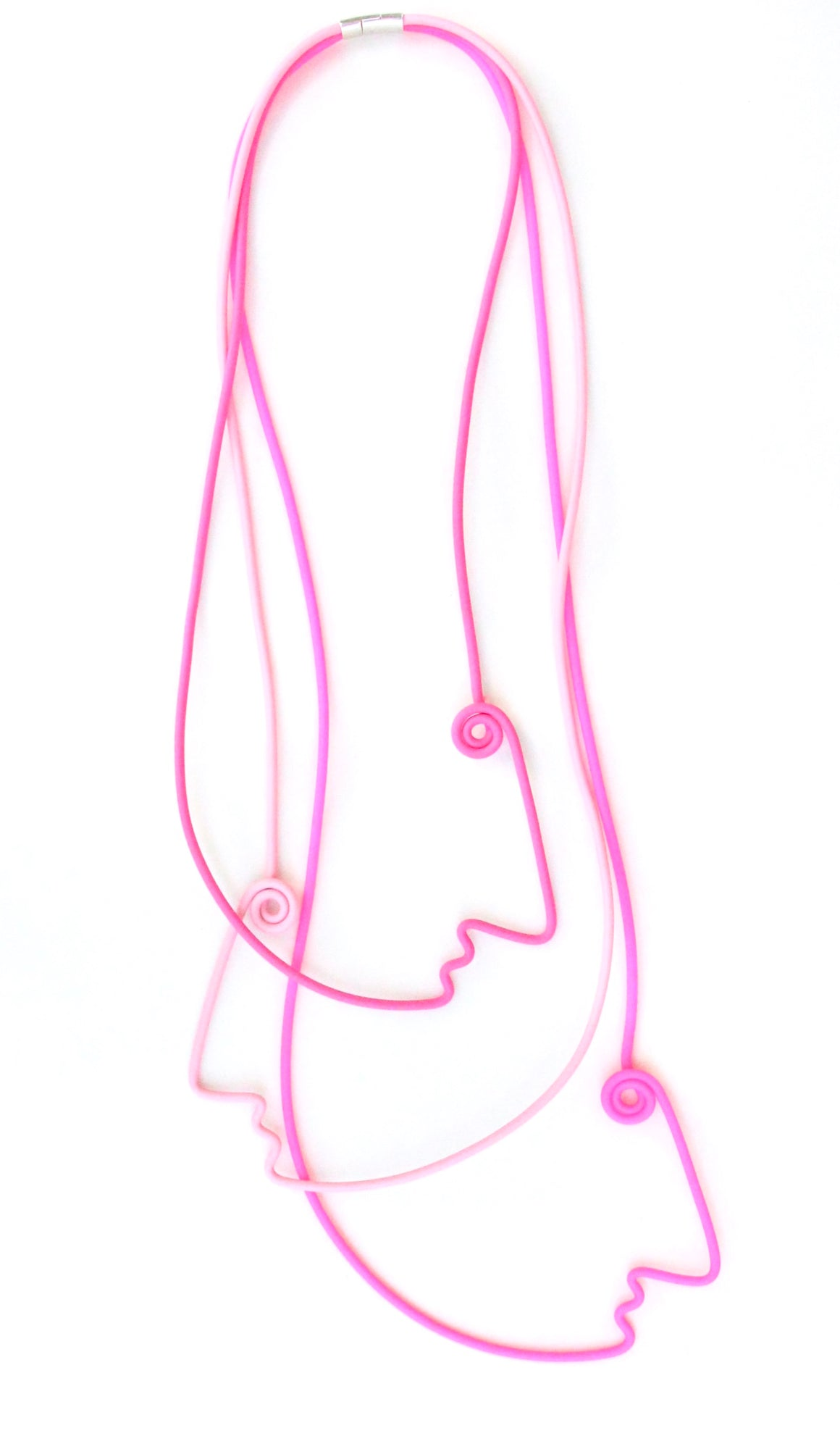 Picasso 3 Faces Necklace - 3 shades of Pink