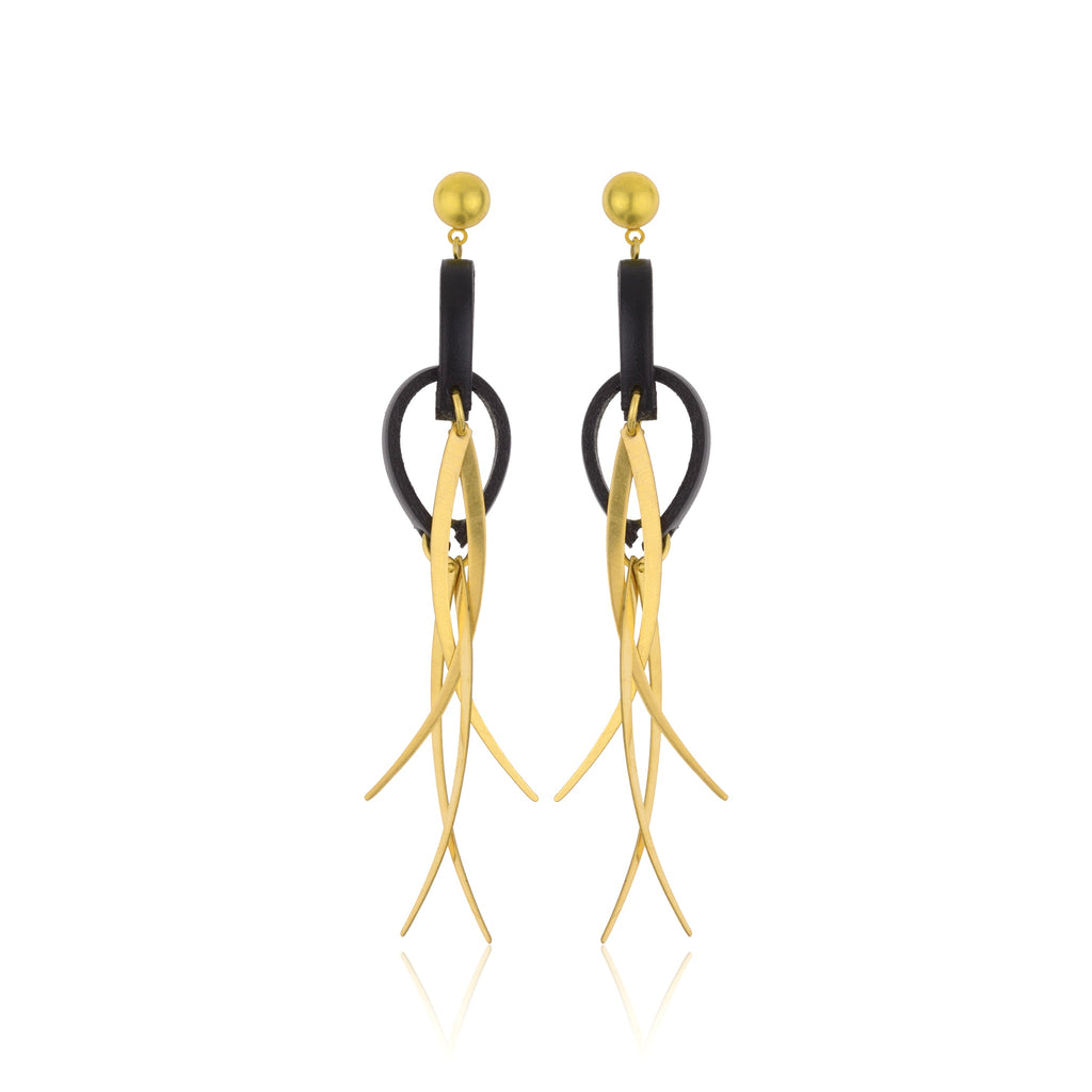 The Wind in the Vines Earrings - Black