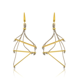 The Bars Dispersion Earrings - Grey and Gold