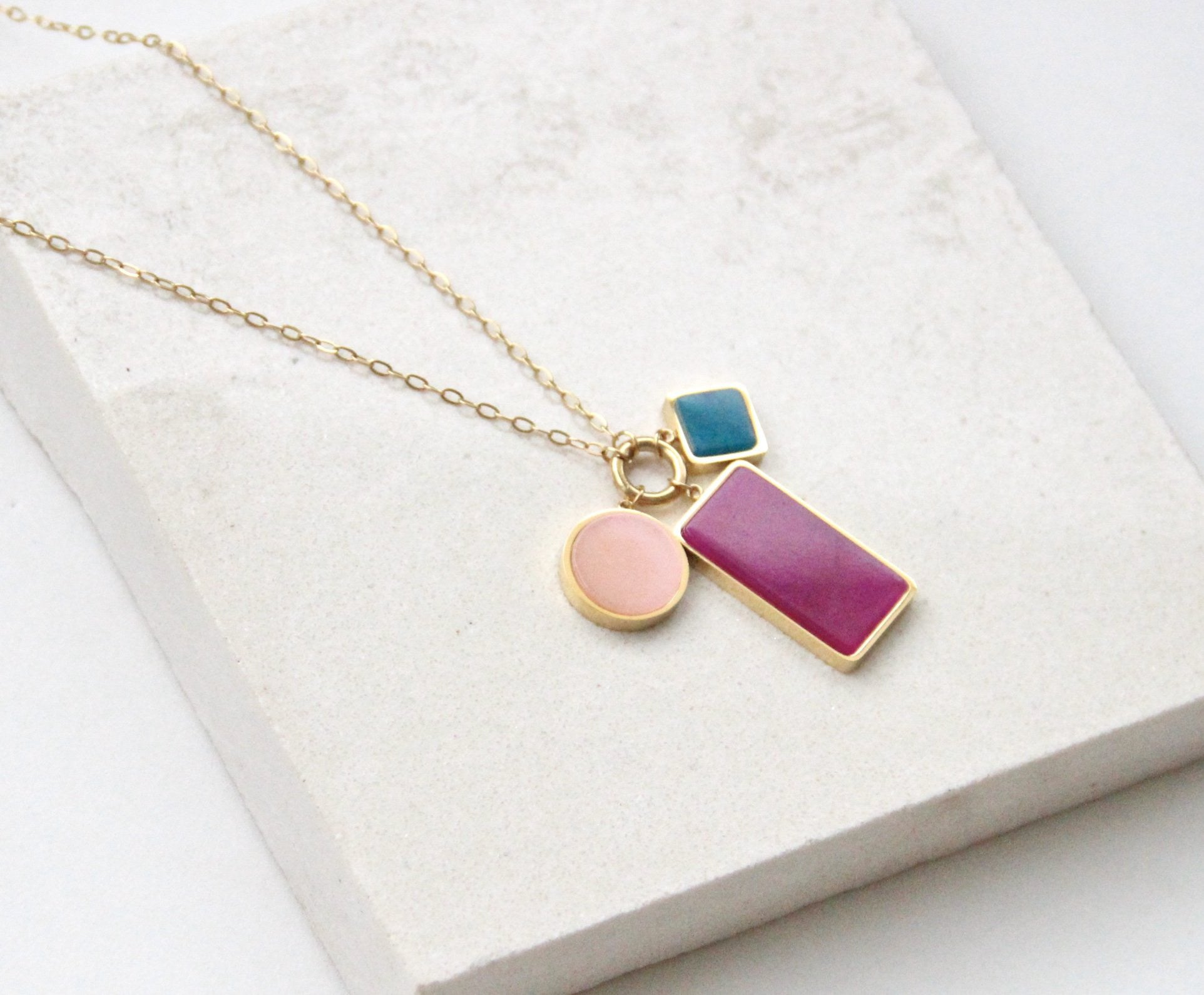 The Coloured Shapes Necklace - Purple