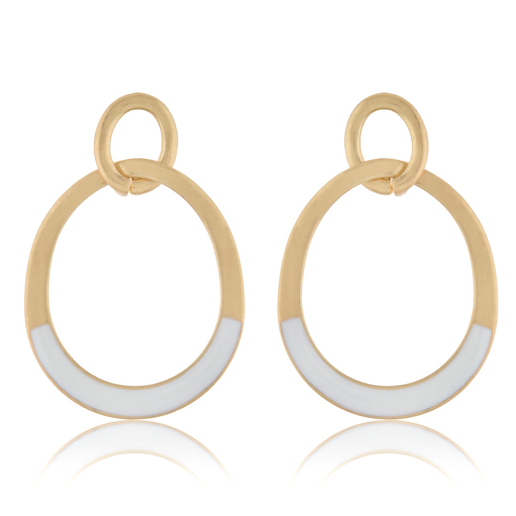 Gold & White 2 Loop Oval Earrings