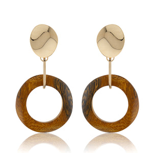 Brown Wood Ring Earrings
