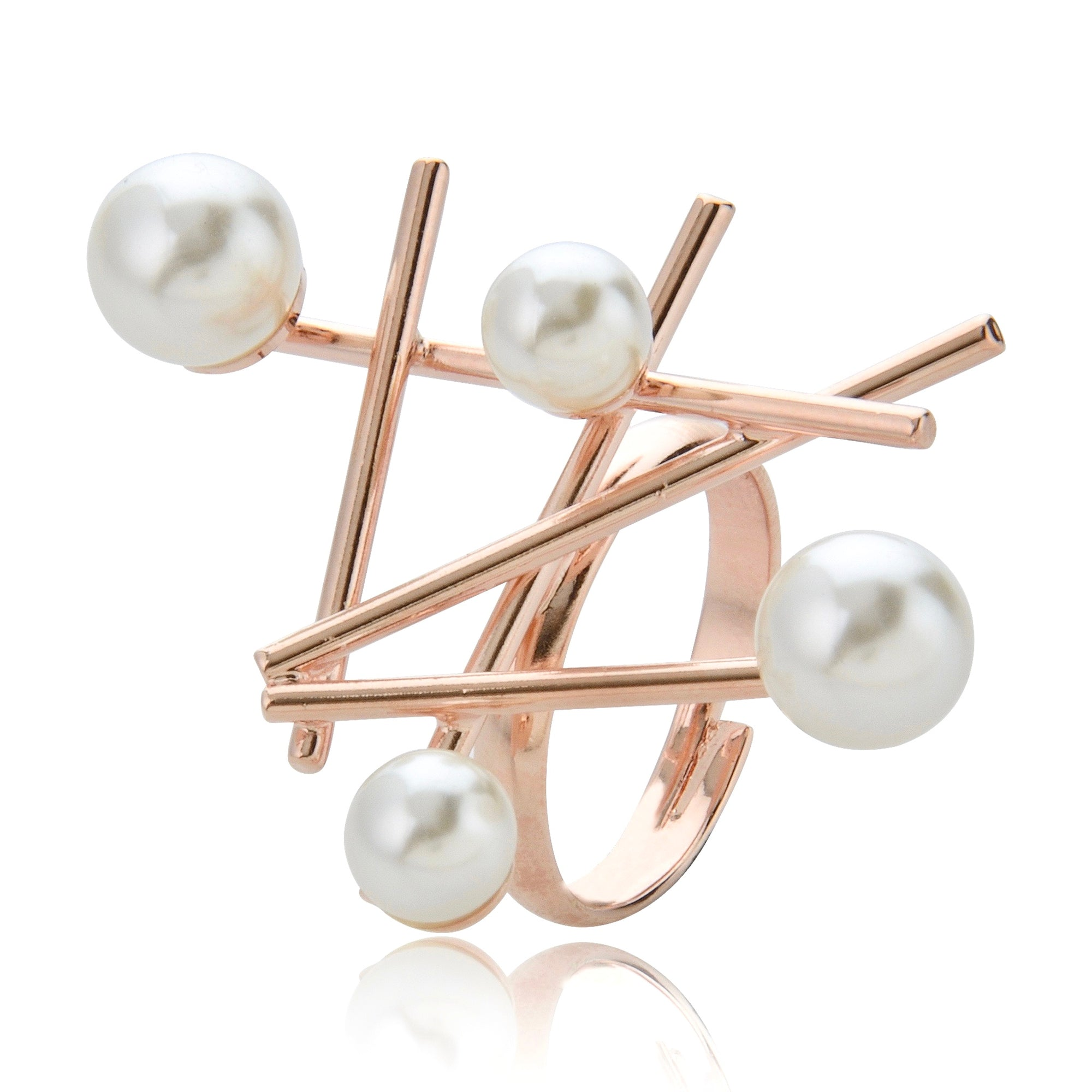 Grid Pearl Ring - Rose Gold
