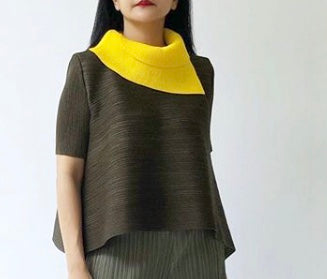 Dual Colour Turtleneck Top - Yellow/Olive