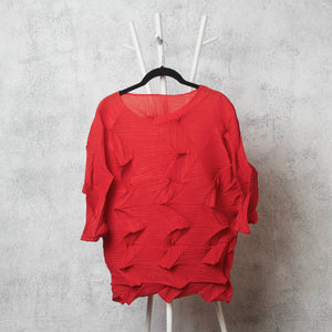 3Dimensional Pleated Top Red