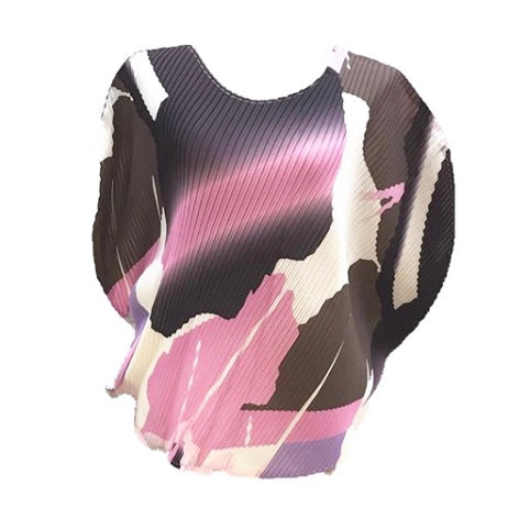 Abstract Pink Pleats Top