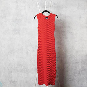 Chevron Pleated  Dress - Coral Red
