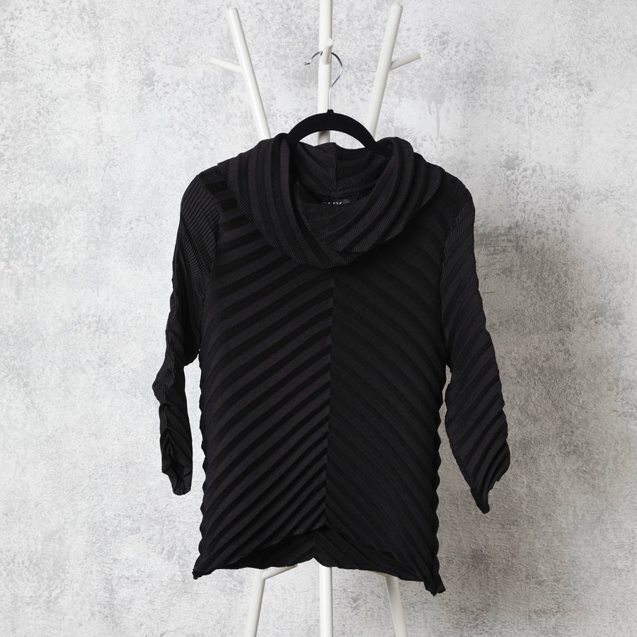 Chevron Pleated Cowl Neck Top - Black