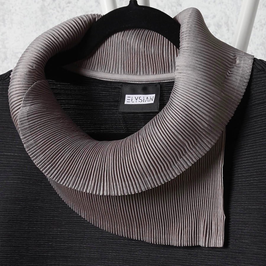 Dual Colour Sleeveless Turtleneck - Grey/Black