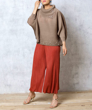 Batwing Pearled Turtleneck Top - Taupe