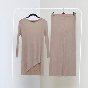 Asymmetrical Tunic Co-ord Set - Taupe