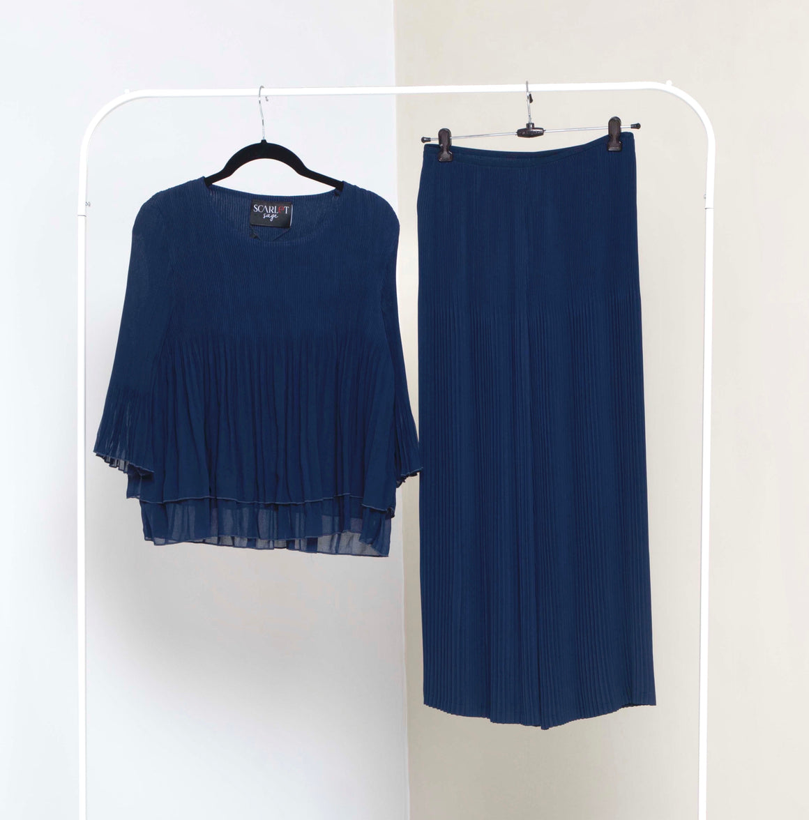 Layered Top  Co-ord Set - Navy Blue