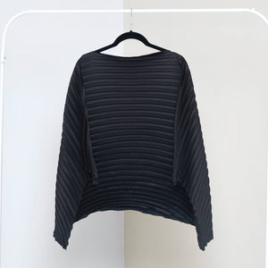 Satin Poncho Top - Black