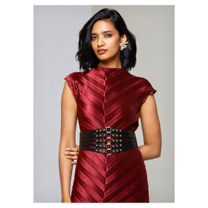 Satin Chevron Dress - Maroon