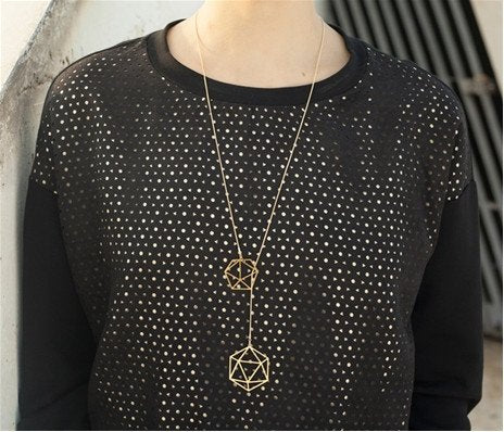 Long Geodesic Necklace - Gold