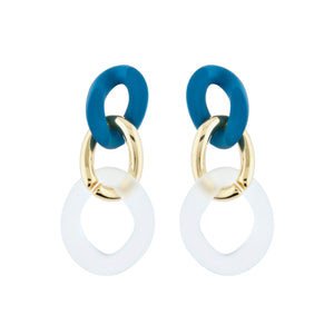 Ella Link Earrings - Teal Blue