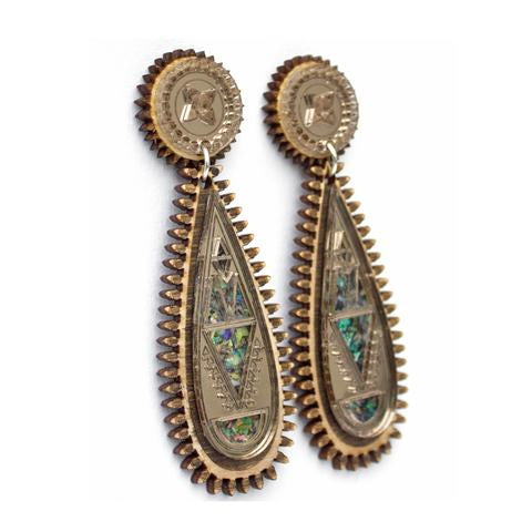 Maharani Earrings - Wood & Vintage Silver Mirror