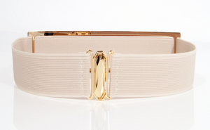 Metal & Elastic Belt - 3cm - Beige & Gold
