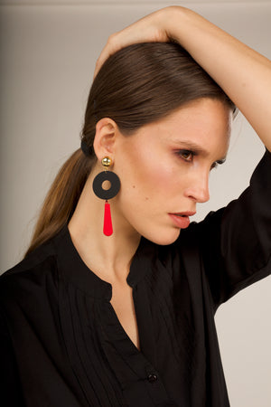 Colourblack Statement Earrings - Gold, BlacK, Red
